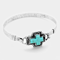 Antique turquoise cross hook bracelet