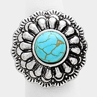 Tribal turquoise stretch ring