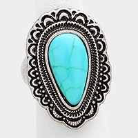 Antique turquoise stretch ring