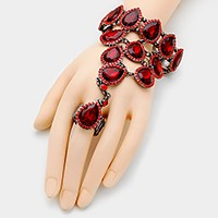 Crystal rhinestone teardrop link evening hand chain bracelet
