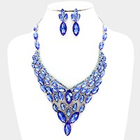 Crystal rhinestone marquise link evening necklace