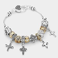 VINTAGE CROSS FULL CHARM MULTI BEADS BRACELET