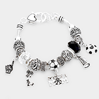 'Soccer Mom' Multi Beaded Embossed Metal Bracelet