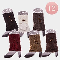 12 Pairs - double tassel cable knit boot toppers