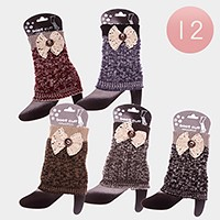 12 Pairs - bow detai knit boot toppers