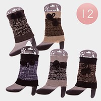 12 Pairs - double pom pom knit boot toppers
