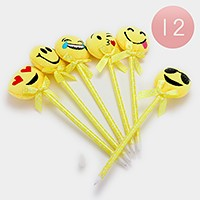 12 PCS - Cute emoji ball point pens