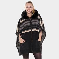Stripe pattern hooded zip poncho with side pockets