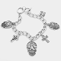 Day of the dead skull & cross charm toggle bracelet