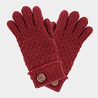Wooden button detail fleece lined gloves