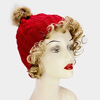 Knit beanie hat with pom pom