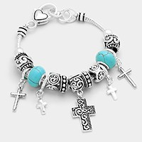 Multi-bead cross charm bracelet