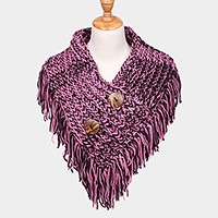 Wooden button detail two tone v-neck collar fringe scarf