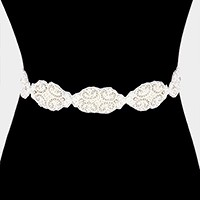 Metallic thread trim beaded pearl sash ribbon belt