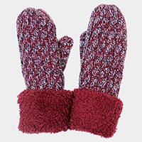 Fleece lined two tone mitten gloves