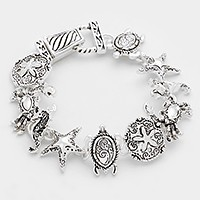 Metal turtle & starfish link magnetic bracelet