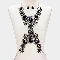 Felt & faux leather back crystal rhinestone bib body chain necklace