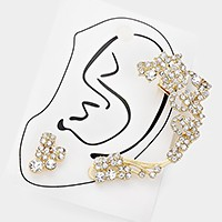 Crystal rhinestone ear cuff earring with stud