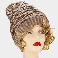 Patterned knit slouchy beanie hat