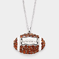 Crystal pave rugby ball pendant necklace