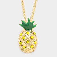 Crystal enamel pineapple pendant necklace