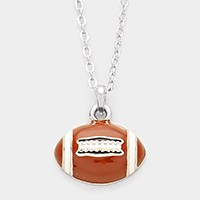 Enamel rugby ball pendant necklace