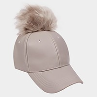 Pom pom faux leather baseball cap