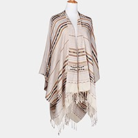 Aztec pattern shawl poncho with fringe