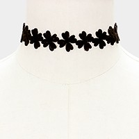 Faux suede clover choker necklace