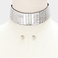 Rectangle crystal banded felt back choker necklace
