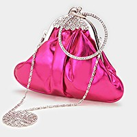 Crystal hoop accented clasp evening bag