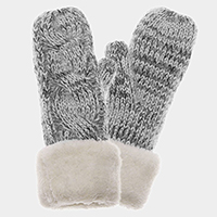 Fleece lined cable knit mitten gloves