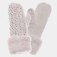 Fleece lined cable knit mitten gloves with crystal studs