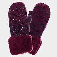 Fleece lined ombre knit mitten gloves with crystal studs