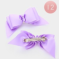12 PCS - Solid bow hair barrettes
