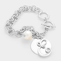 'E' MONOGRAM DISC CHARM LINKED CHAIN BRACELET