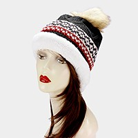Fleece lined pom pom fold over beanie hat