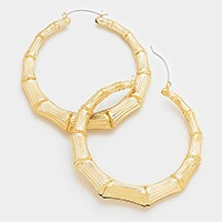 Metal bamboo hoop pin catch earrings