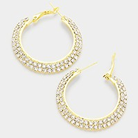 2-Row Crystal Rhinestone Hoop Earrings