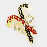 Crystal Christmas candy cane & bow brooch