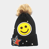 Sequin smiley face & American Flag star _ patch beanie hat with pom pom