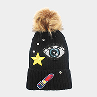 Sequin big eye & embroidered lipstick _ patch beanie hat with pom pom