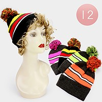 12 PCS - Striped pom pom beanie hats