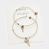 2 PCS - Double key charm mother & daughter bracelets