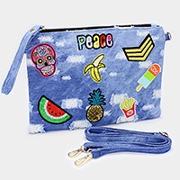 Embroidered day of the dead skull & sequin watermelon _ Destroyed denim clutch bag