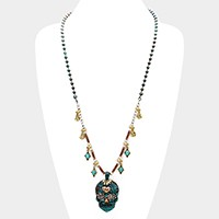 Day of the dead skull pendant & turquoise station necklace