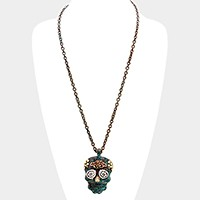 Day of the dead skull pendant long necklace