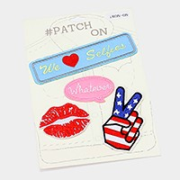 American flag peace hand sign & lip mark _ embroidered patch set