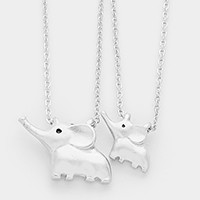 2 PCS - Double elephant mother & daughter necklaces