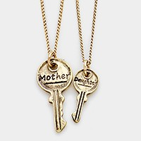 2 PCS - Double key mother & daughter necklaces